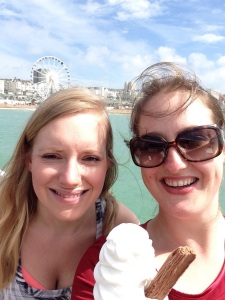 Devouring a well earned ice-cream on the pier