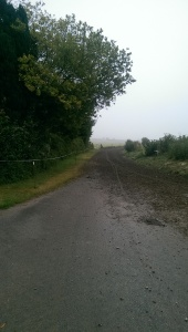 The end of a muddy pathway. So difficult to control my bike!